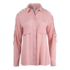 Warehouse One NWT Pink Button Down Blouse